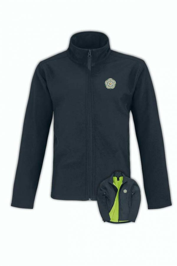 yorkshire rose embroidered on navy softshell