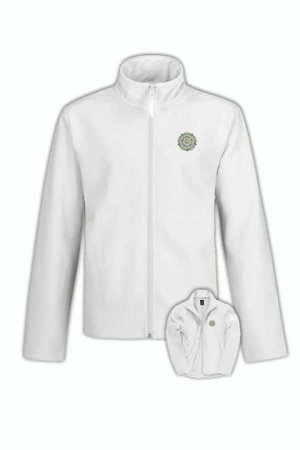 yorkshire rose embroidered on white softshell