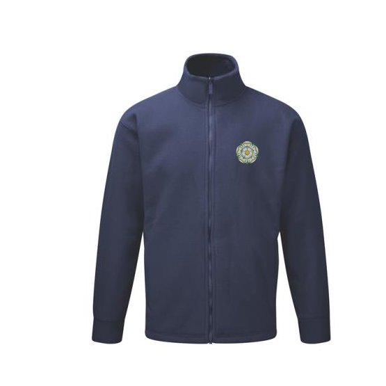 yorkshire rose embroidered on navy unisex fleece