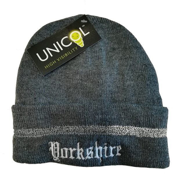 yorkshire embroidered grey beanie with reflective strip