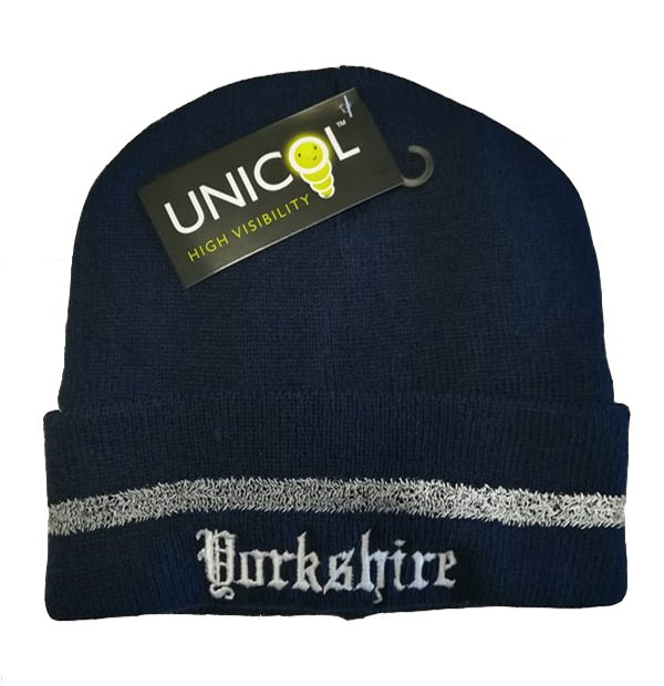 yorkshire embroidered navy beanie with reflective strip