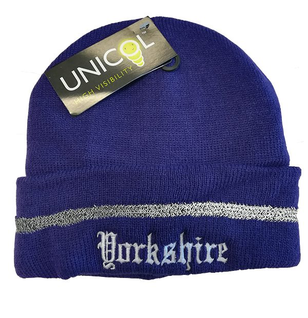 yorkshire embroidered purple beanie hat with reflective strip