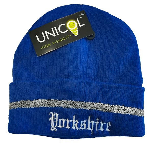 royal blue Yorkshire Embroidered Beanie Hat with Reflective Strip