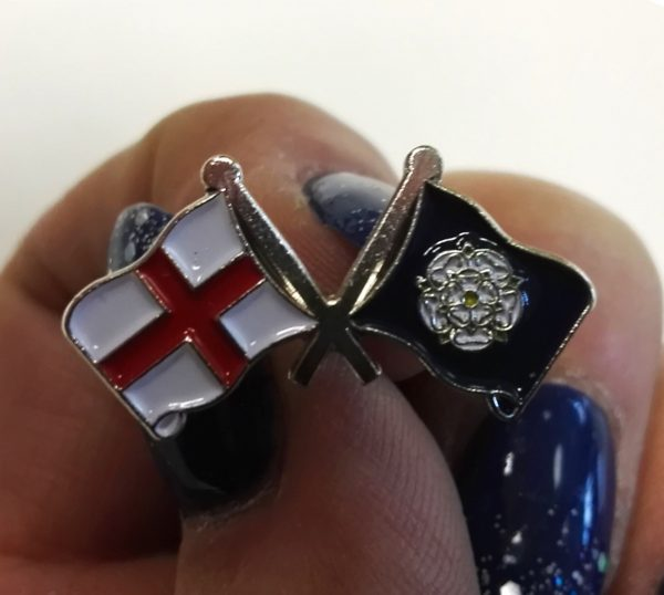 yorkshire rose and england flag badge
