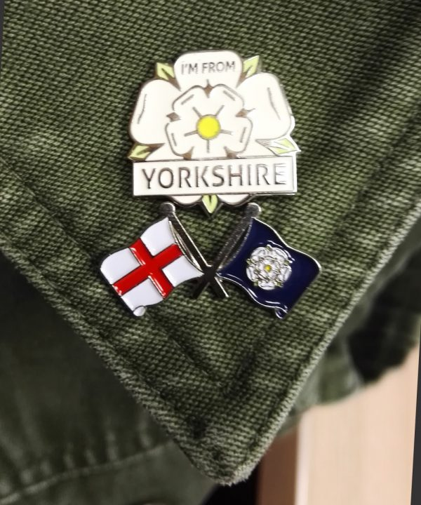 yorkshire rose pin badge and yorkshire rose flag and England pin badge