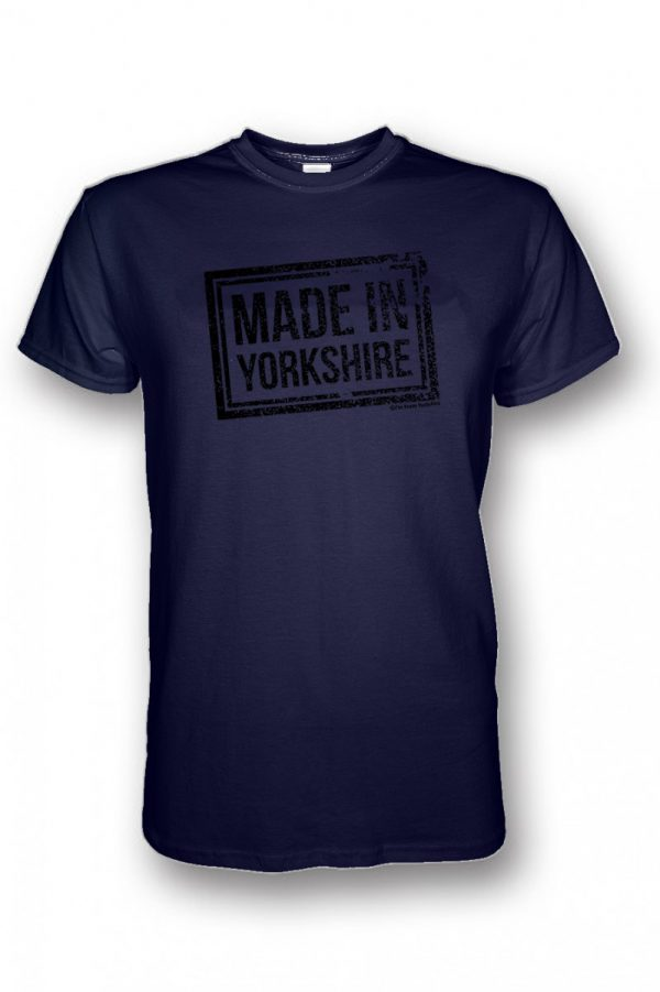 black made in yorkshire chest stamp navy tshirt