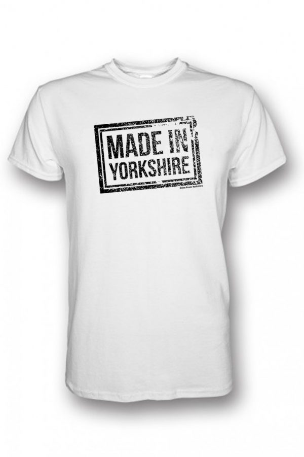 black made in Yorkshire chest stamp white t-shirt