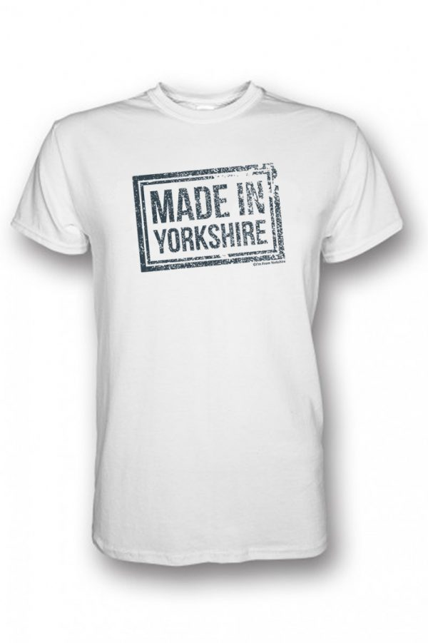 charcoal made in yorkshire chest stamp white t-shirt
