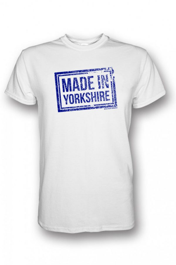 blue made in yorkshire chest stamp white t-shirt