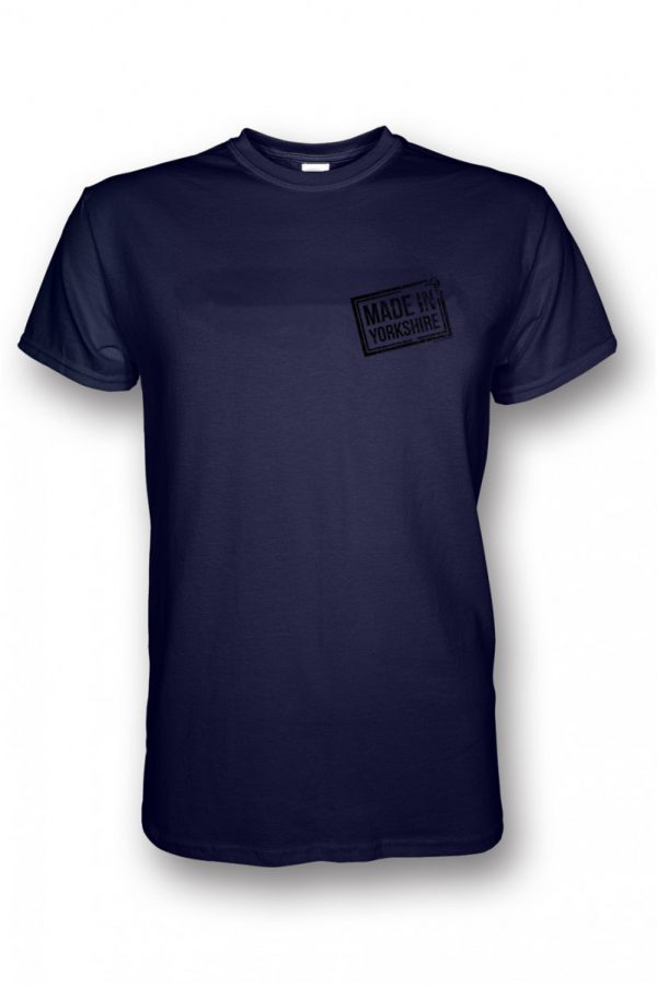 small black made in yorkshire stamp on navy t-shirt