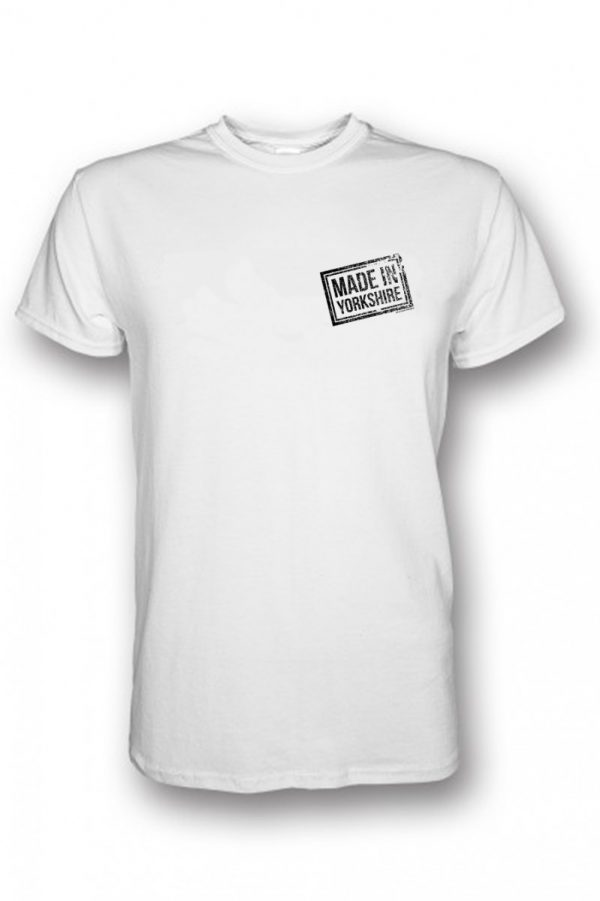 small black made in Yorkshire stamp on white t-shirt