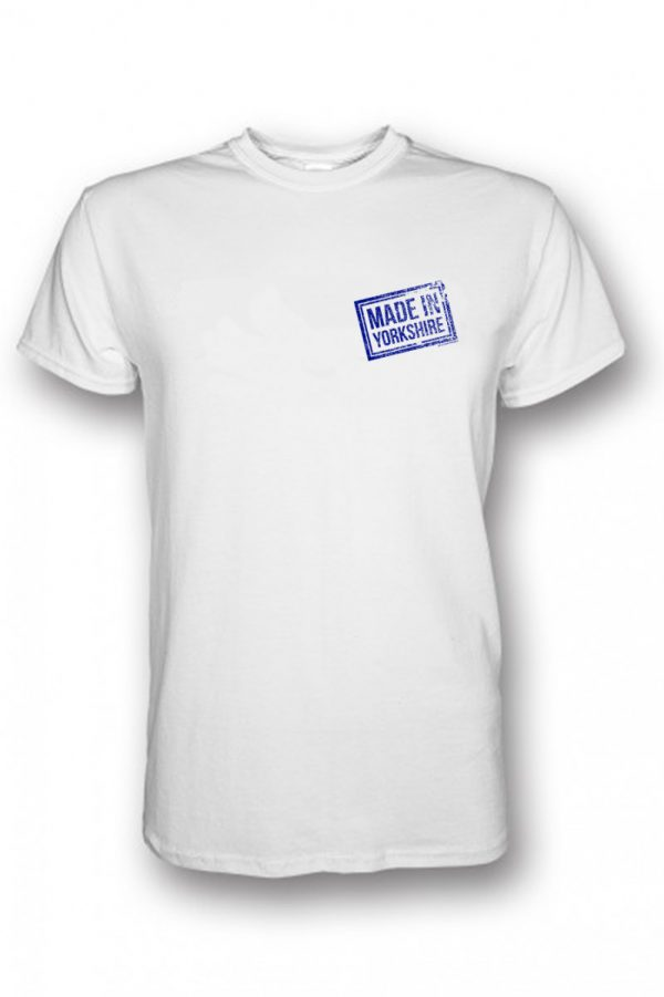 small blue made in yorkshire chest stamp white t-shirt
