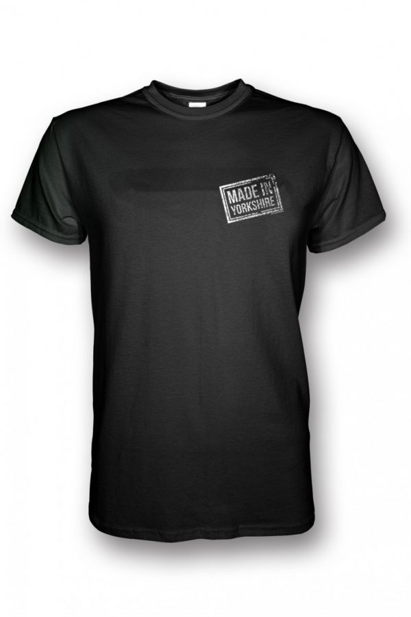 small white small made in yorkshire chest stamp on black t-shirt