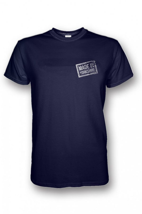 small white made in yorkshire chest stamp on navy t-shirt