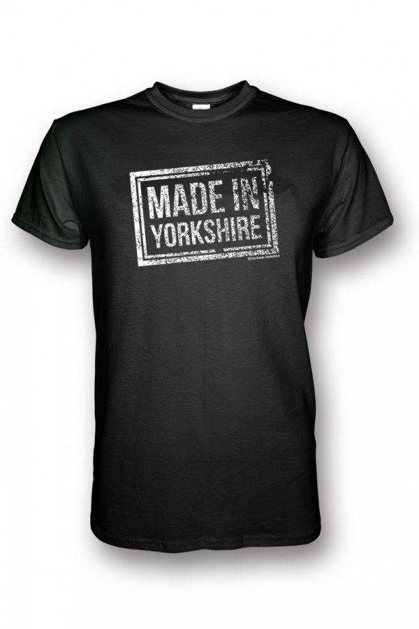 white made in yorkshire chest stamp black t-shirt