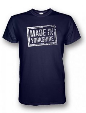 White Made in Yorkshire Chest Stamp design on a Navy Blue T-Shirt