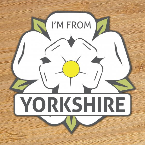 i'm from yorkshire vinyl sticker with wood background