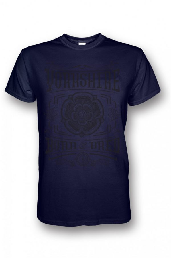 black yorkshire born and bred rose design navy t-shirt