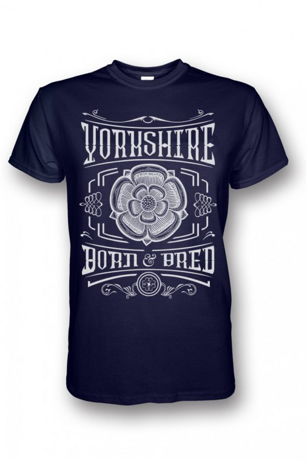 white yorkshire born and bred rose design navy t-shirt
