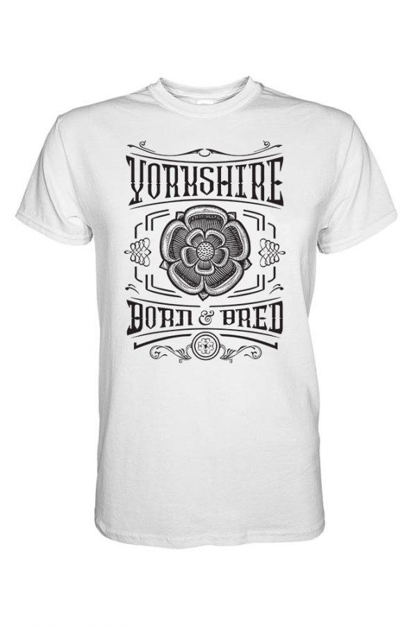 black Yorkshire born and bred rose design white t-shirt