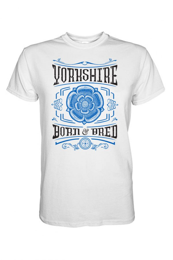 blue and black yorkshire born & bred new rose design on a white t-shirt