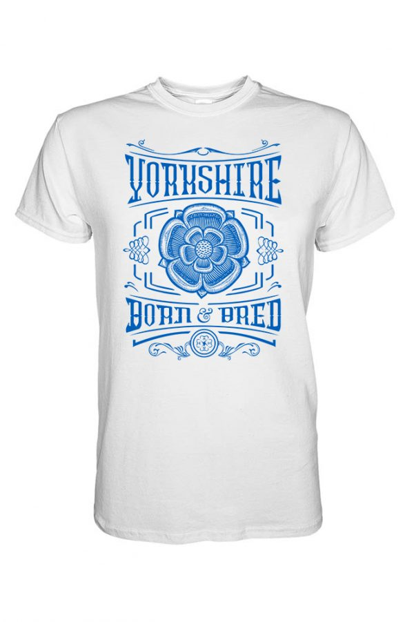 blue Yorkshire born and bred rose design white t-shirt