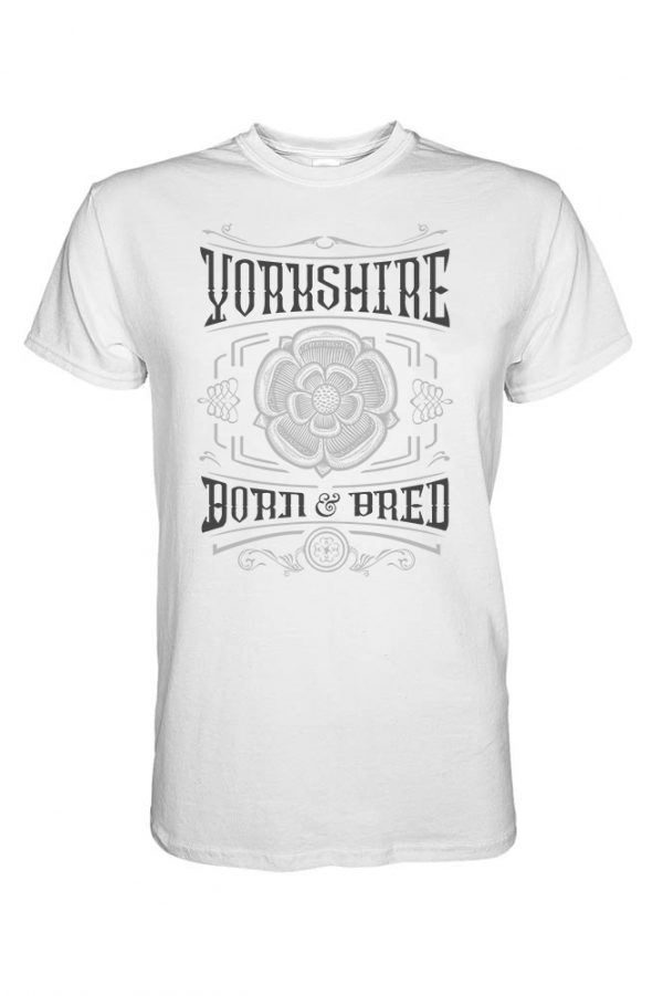 black and charcoal yorkshire born and bred rose design white t-shirt