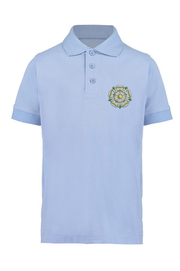 light blue children's yorkshire rose polo shirt