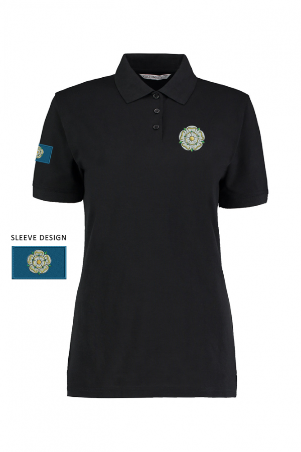 ladies yorkshire rose polo black