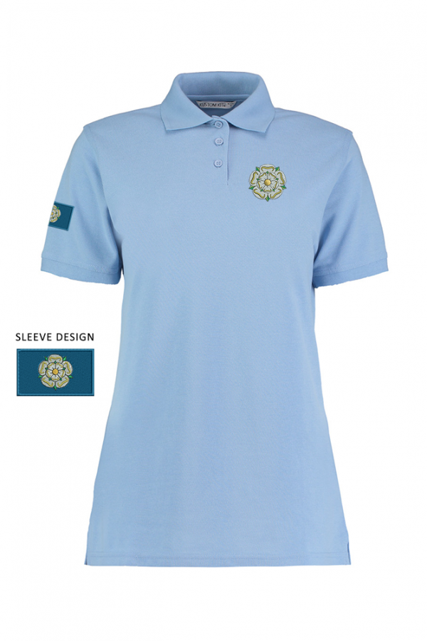 ladies yorkshire rose polo light blue