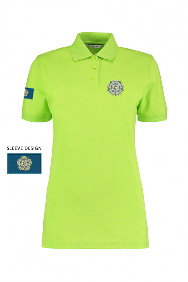 ladies yorkshire rose polo lime