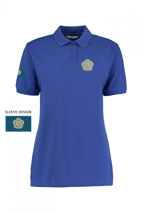 ladies yorkshire rose polo blue