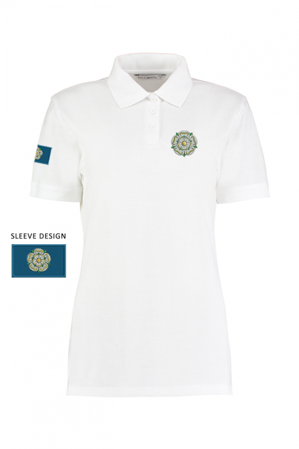 ladies yorkshire rose polo white