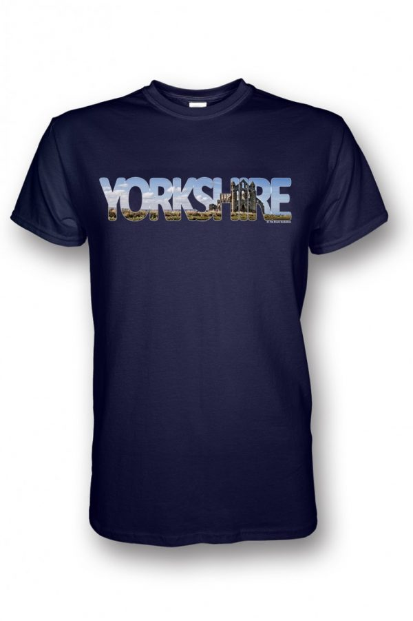 Whitby Abbey Yorkshire Typography Design on a Navy Blue T-Shirt
