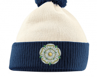 yorkshire bobble hat off white & navy