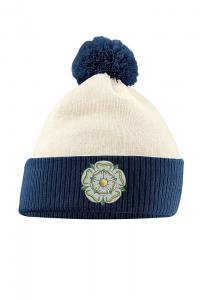 yorkshire bobble hat off white & navy