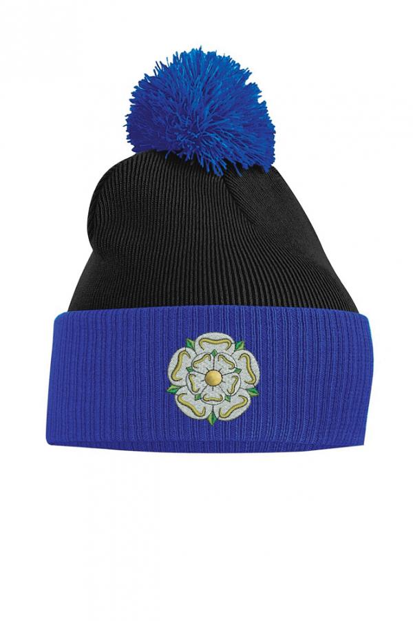 Yorkshire Rose bobble hat black and royal blue