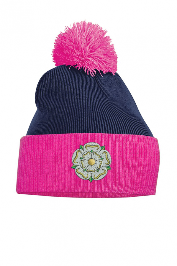 Yorkshire rose bobble hat fuchsia and navy blue
