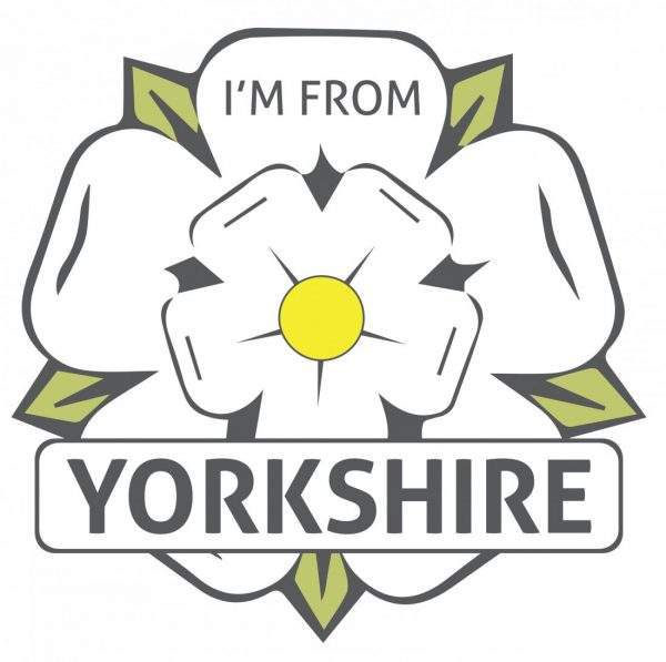 White I'm From Yorkshire Rose Window Sticker