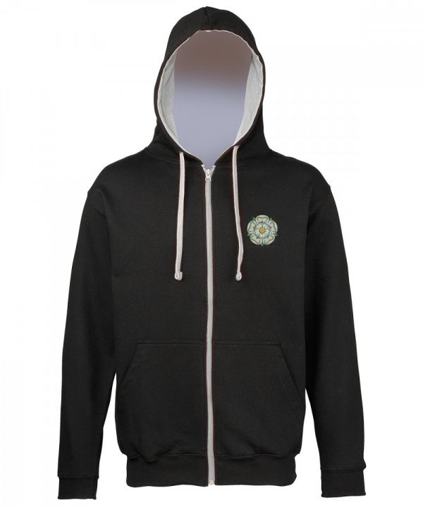 yorkshire rose embroidered on black zipped hoodie with grey inner hood and strings