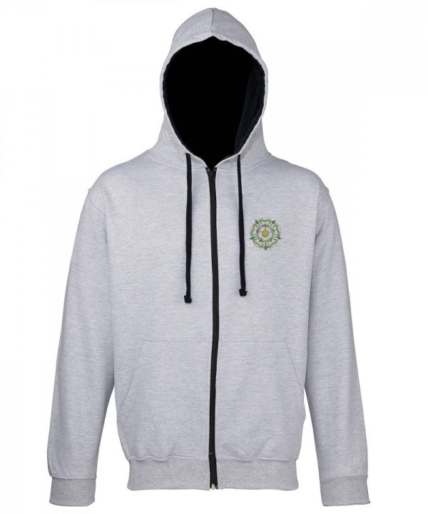 yorkshire rose embroidered on grey zipped hoodie with navy inner hood and strings