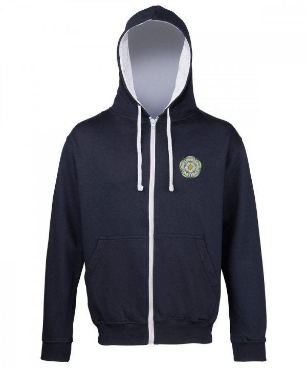 yorkshire rose embroidered on navy zipped hoodie with grey inner hood and strings