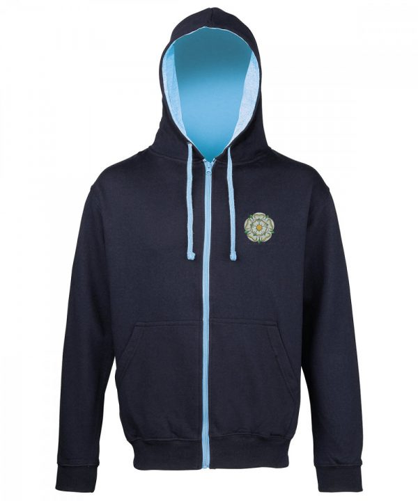 yorkshire rose embroidered on navy zipped hoodie with sky inner hood and strings