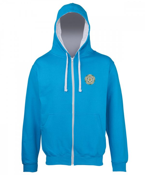 yorkshire rose embroidered on sapphire hoodie with grey inner hood and strings