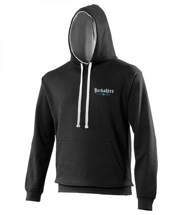 yorkshire born and bred embroidered on a black hoodie with a grey inner hood and strings