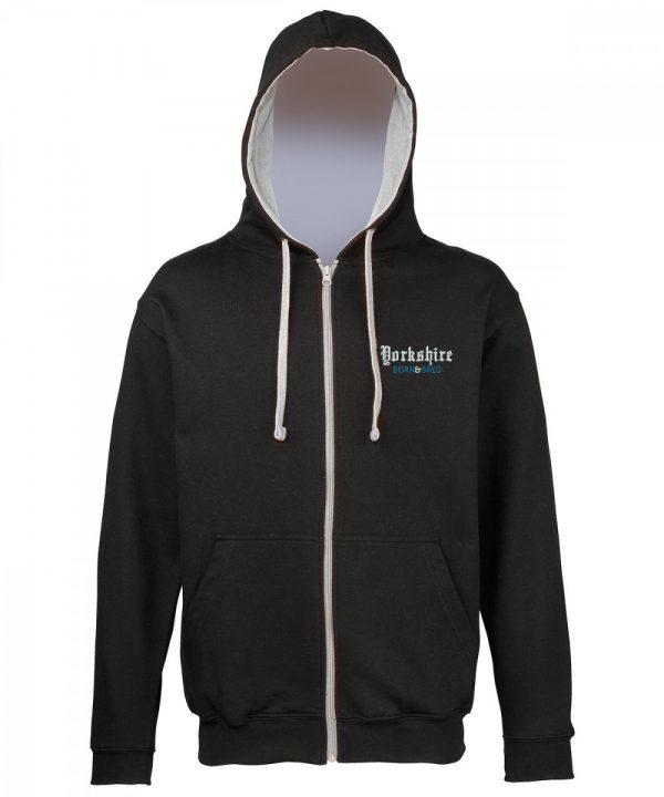 yorkshire born and bred embroidered on black zipped hoodie with grey inner hood and strings