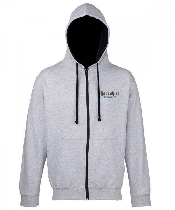 yorkshire born and bred embroidered on zipped grey hoodie with black inner hood and strings
