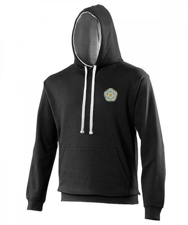yorkshire rose embroidered on black hoodie with grey inner hood and strings