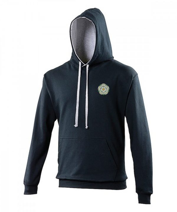 yorkshire rose embroidered on navy hoodie with grey inner hood and strings