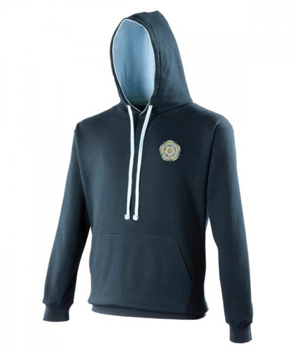 yorkshire rose embroidered on navy hoodie with sky inner hood and strings